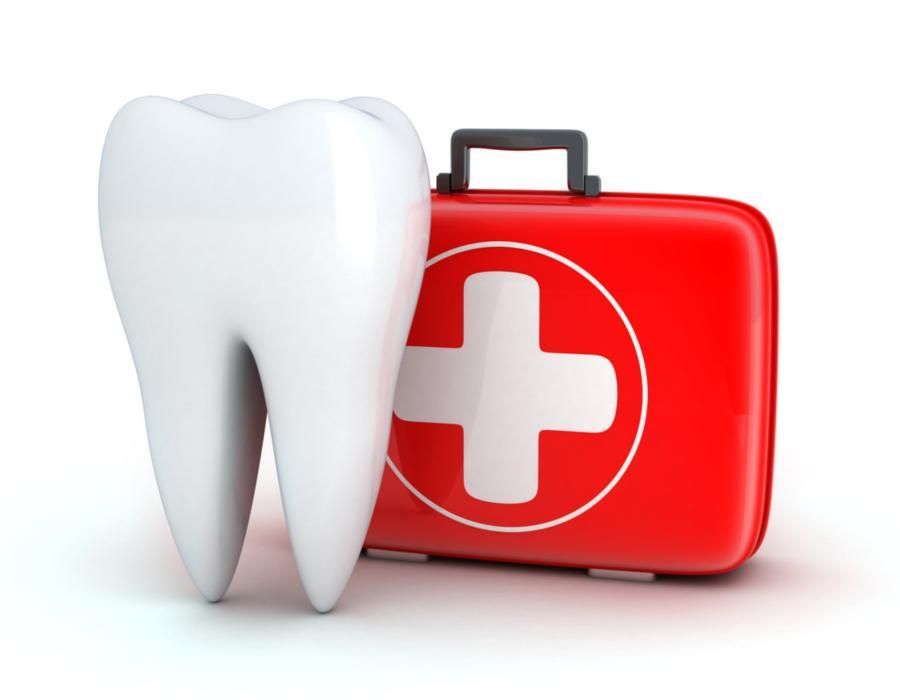 Illustration of tooth and first aid kit | Emergency Dentist Burnaby BC