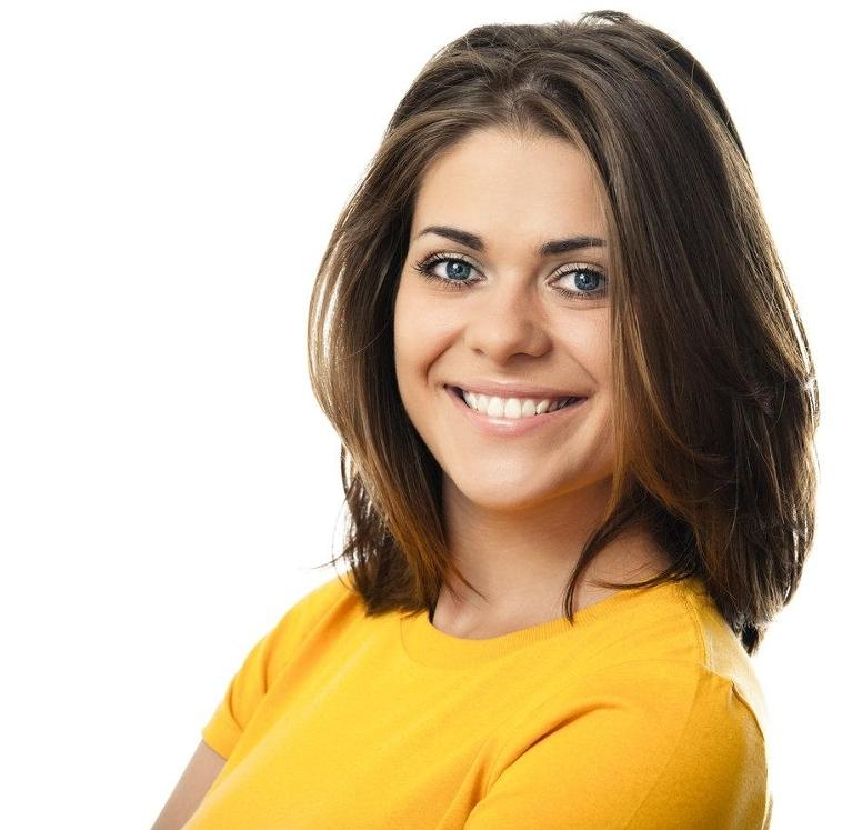 Woman in yellow shirt smiling